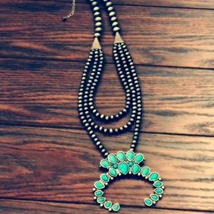 Squash Blossom Navajo Turquoise Necklace